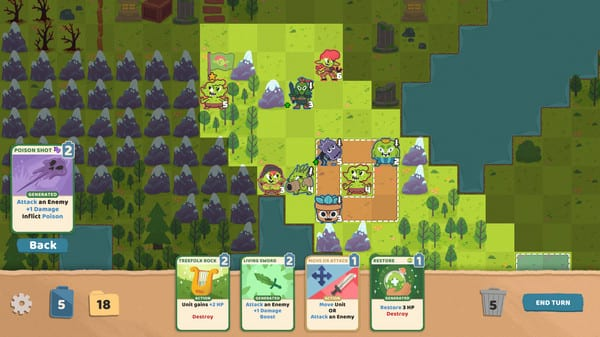 A top down view of a forest laid out in a grid pattern, with several monsters standing around. On the bottom of the screen is a hand of cards