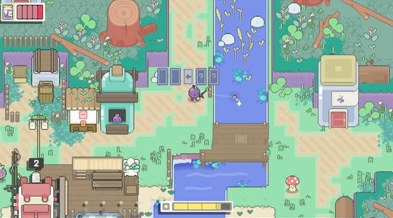 A small pixelated village with characters made of fruits. Concord the grape uses his fishing rod on a river in the middle of the screen