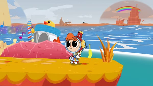 Billy stands on a small platform, the ocean and a boat behind him