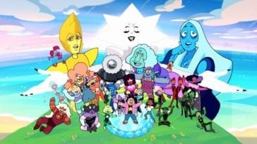 The characters of Steven Universe stand together in a green field with a blue cloudy sky