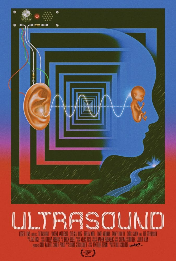 A trippy poster for Ultrasound features an ear connected by a wavy line to a fetus inside of a monocolor head
