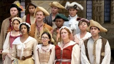 The cast of Crazy Ex-Girlfriend stands in sailr costumes