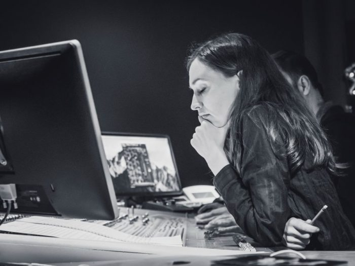 Anne-Sophie Versnaeyen composes while sitting at her computer