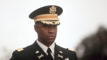 In this image from Courage Under Fire, Denzel Washington as Col. Nat Serling is depicted in full military dress.