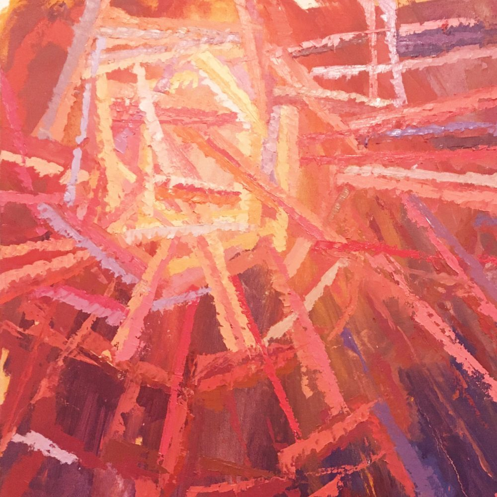 The abstract painting of red, yellow, and orange streaks which serves as the album cover for Improvsations and Textures 1, painted by Brendan Luchik