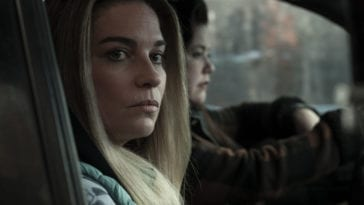 Allison looks out the window while Patty drives.