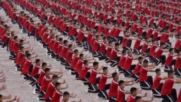 Still from Practice, one of the newly added Criterion Channel Short Films. Rows of Shaolin martial artists practice a move
