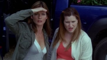Jordan (Jill Hennessy) and Lily (Kathryn Hahn) react to seeing something strange.