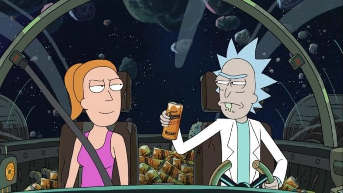 Summer and Rick are in Rick's spaceship - Rick is holding a can of beer and there is a pile of empty cans on the back seat