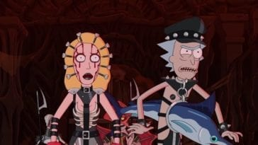 Beth and Rick are standing in Hell, cosplaying as Hell demons