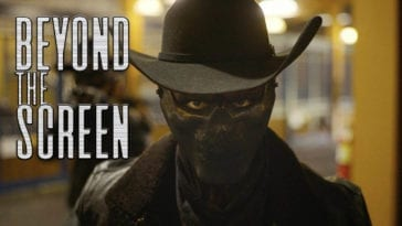 A person in a hat with mask over their face, with the words Beyond the Screen superimposed on the left