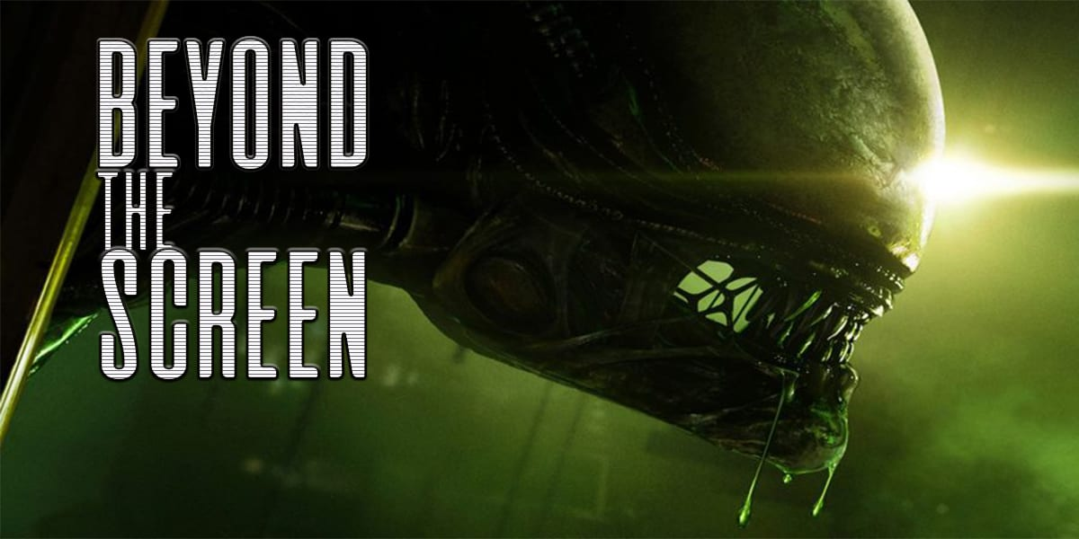 A Xenomorph snarls to the right of the frame, with the words Beyond the Screen superimposed on the left