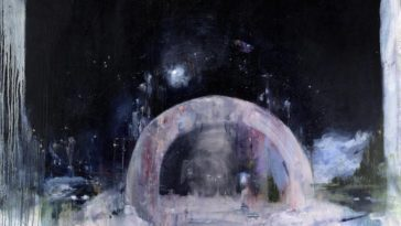 An impressionistic drawing of a dome shape on a dark background, perhaps like a structure on the surface of the moon