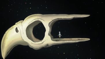 Rick stands in a giant hollow bird skull, floating in space