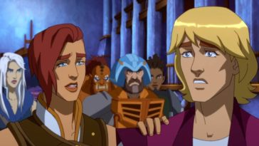 Teela and Prince Adam with her hand on his shoulder standing in front of Evil-Lyn, BeastMan, and Man-At-Arms in front of gray columns