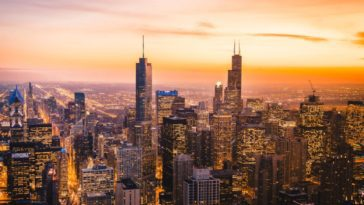 A sunset view of the skyline of Chicago