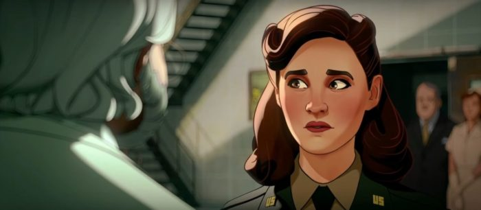 What If....? S1E1 - Peggy look apprehensively towards a set of stairs