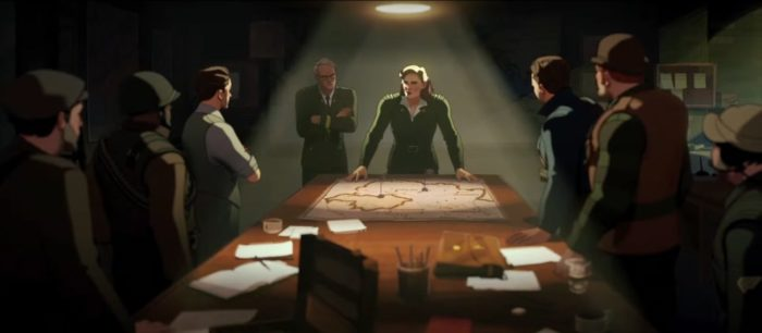 What If....? S1E1 - Captain Carter stands at the head of a war room table with her fellow soldiers