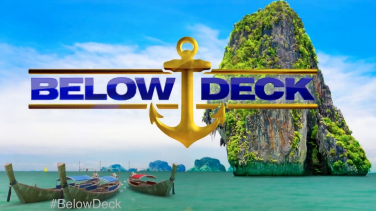 The title card for Below Deck features the name of the show with an anchor between the two words, with a beach as a backdrop