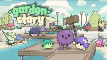 the logo for Garden story, featuring many chibi characters including a frog and the main character concord the grape holding a hammer
