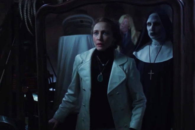 Lorraine Warren (Vera Farmiga) comes face-to-face with the demon nun Valak (Bonnie Aarons) while trying to rid a London house of evil.