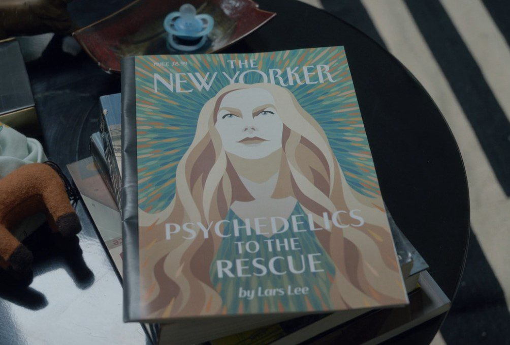 """An artist's rendering of Masha (Nicole Kidman) featured on the cover of a New Yorker magazine entitled """"Psychedelics to the rescue"""""""