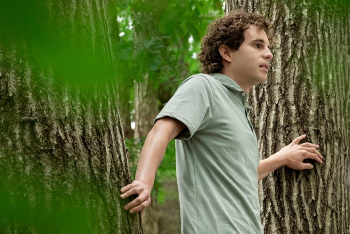 A young man stands high in a tree scared.