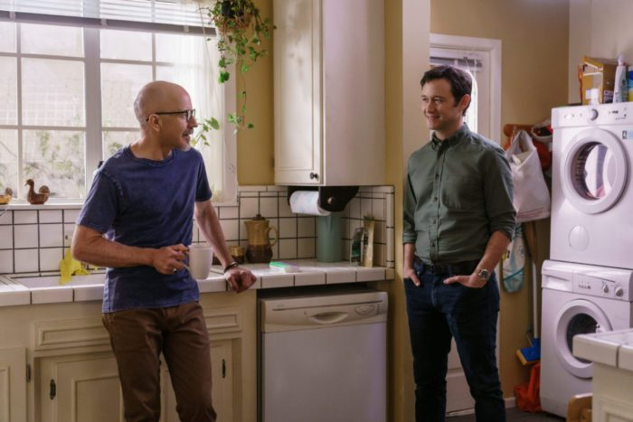 Josh and Larry talk in Ruth's kitchen