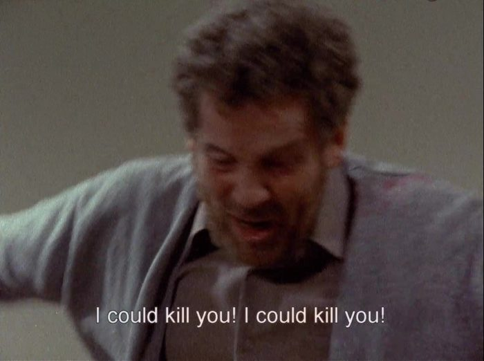 """In this scene from the 1973 version of Scenes from a Marriage, Johan's (Erland Josephson) is depicted in close-up as the subtitle """"I could kill you! I could kill you!"""" is superimposed.ghtening in Bergan's original."""