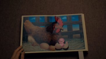 A pop-up book featuring a chicken with a demon chick.