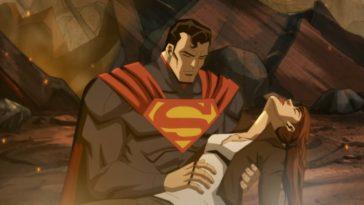 Superman holding a dead Lois Lane