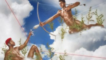 Lil Nas X: Montero (Call Me By Your Name) album cover: a parody of the birth of adam with LNX as Eros spearing himself with an arrow.