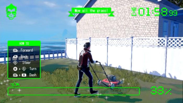 Travis mows the lawn in a mini game