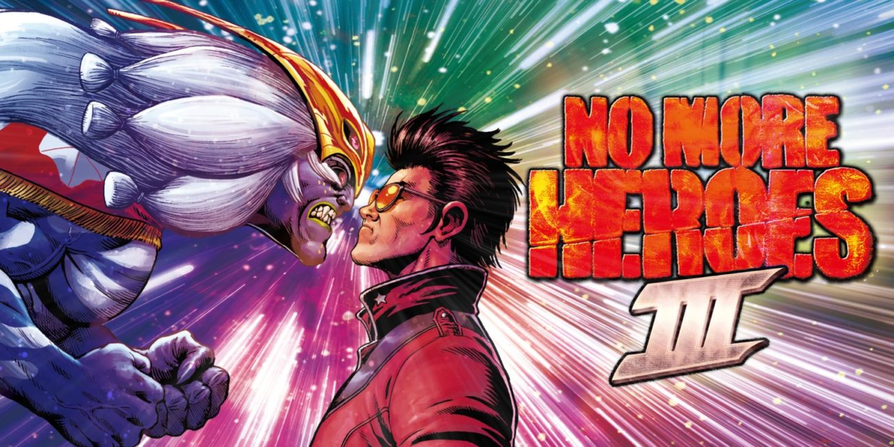 Travis stares down Fu in the title art for No More Heroes III