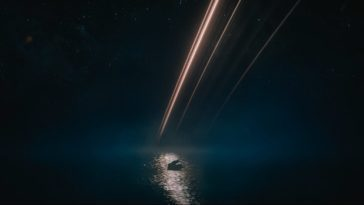 A figure climbs into a boat at night, the rings of Synnax glowing in the background