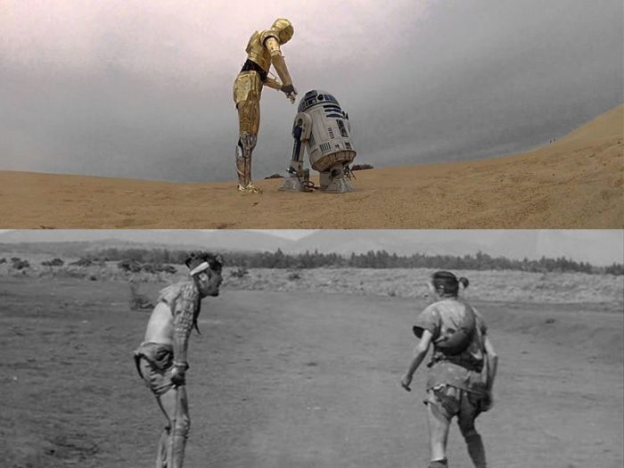 The two droids C-3PO and R2-D2 from 'A New Hope' (top), and Tahei and Matasachi from 'The Hidden Fortress' (bottom). Both pairs are pictured side-by-side wandering an empty desert at the start of their respective films.