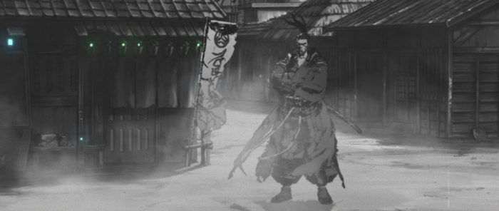 'Ronin' - mysterious hero of 'The Duel' on the misty streets of a rural village. The shot closely resembles the one from Kurosawa's 'Yojimbo' pictured below.