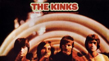 The Kinks stand in a row on an album cover