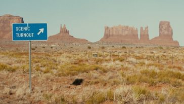 A sign in monument valley marking the spot where Forrest Gump fictionally ended his cross country marathon in the film of the same name