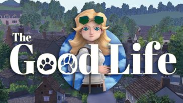 The logo for the good life. Naomi smiles in front of the town of Rainy Woods