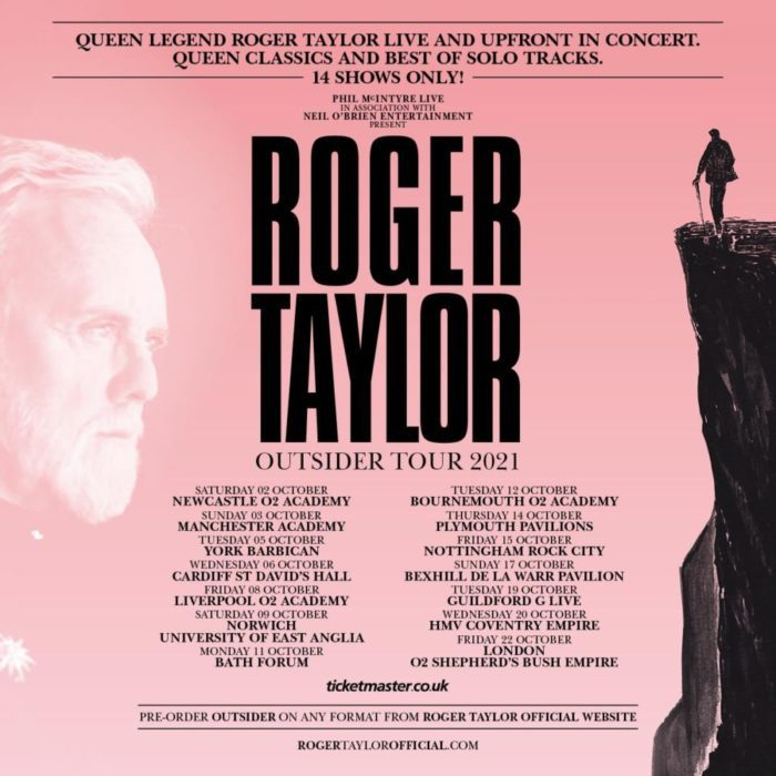 An ad for Roger Taylor's Outsider tour features his face on the left and a cliff with a man on it on the right, with text in the middle