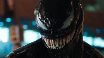 Venom flaunts his long and sharp teeth on the street.
